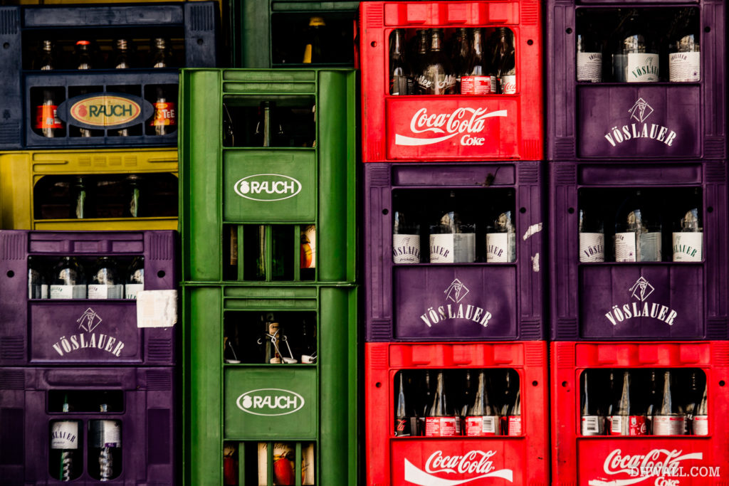 Bottles in crates